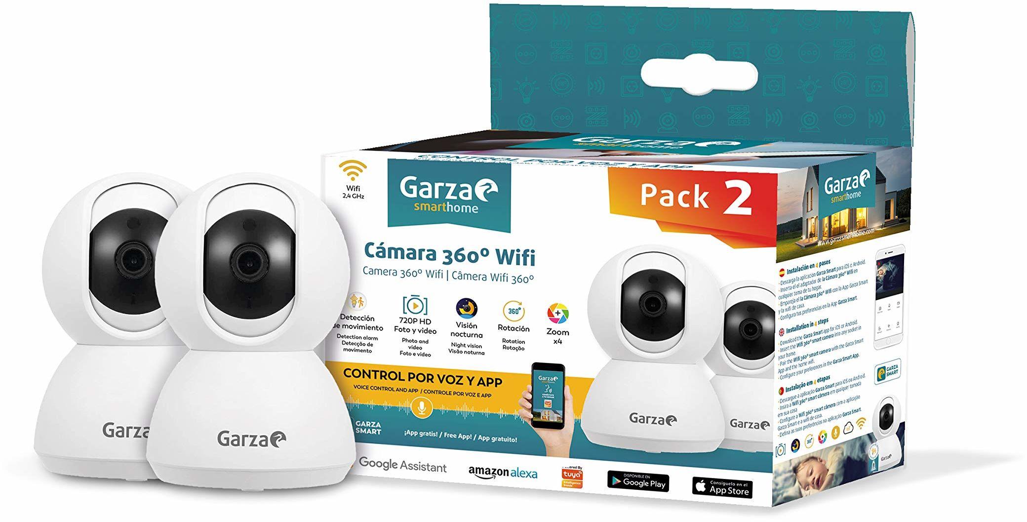 Garza Smarthome inteligentna kamera 360 WiFi do bezpieczeństwa, HD 720p, widoczność w nocy i zoom, sterowanie głosem i aplikacja, Alexa, iOS, Google, Android