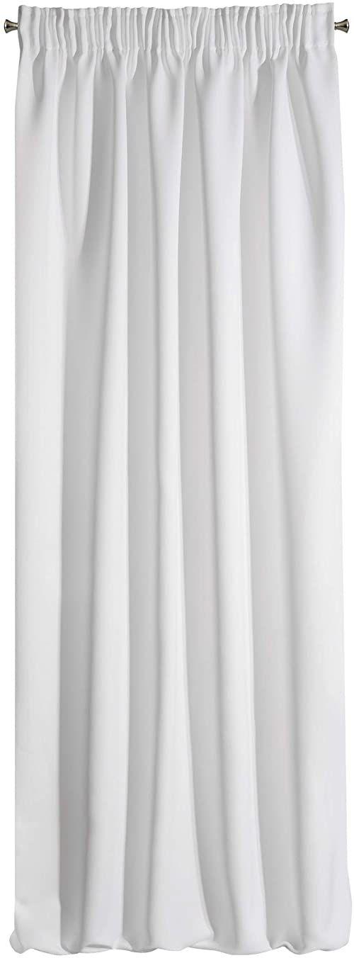 Design91 Gładka zaciemniająca, marszczona, miękka firanka, do sypialni, pokoju dziecięcego, salonu, biała, 135 x 270 cm