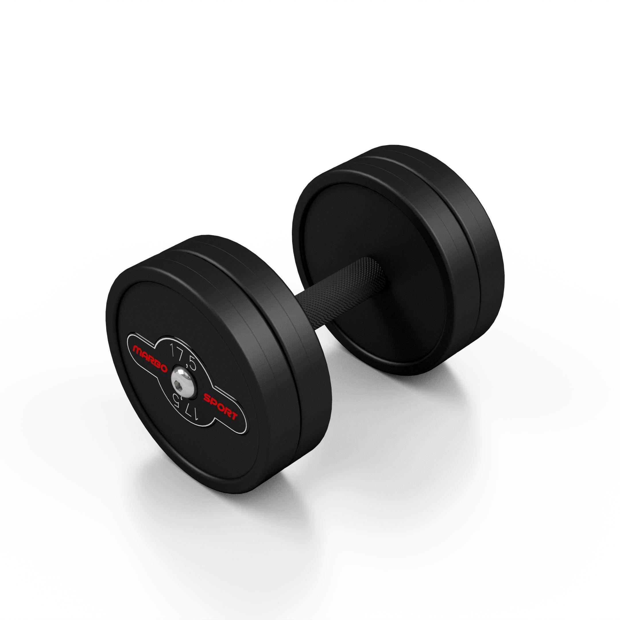 Hantla stalowa gumowana 17,5kg czarny mat - Marbo Sport - 17,5 kg
