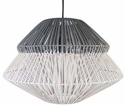 Lampa wisząca ANOKI Rattan 40 W szary/biały ø 45 x wys. 33 cm