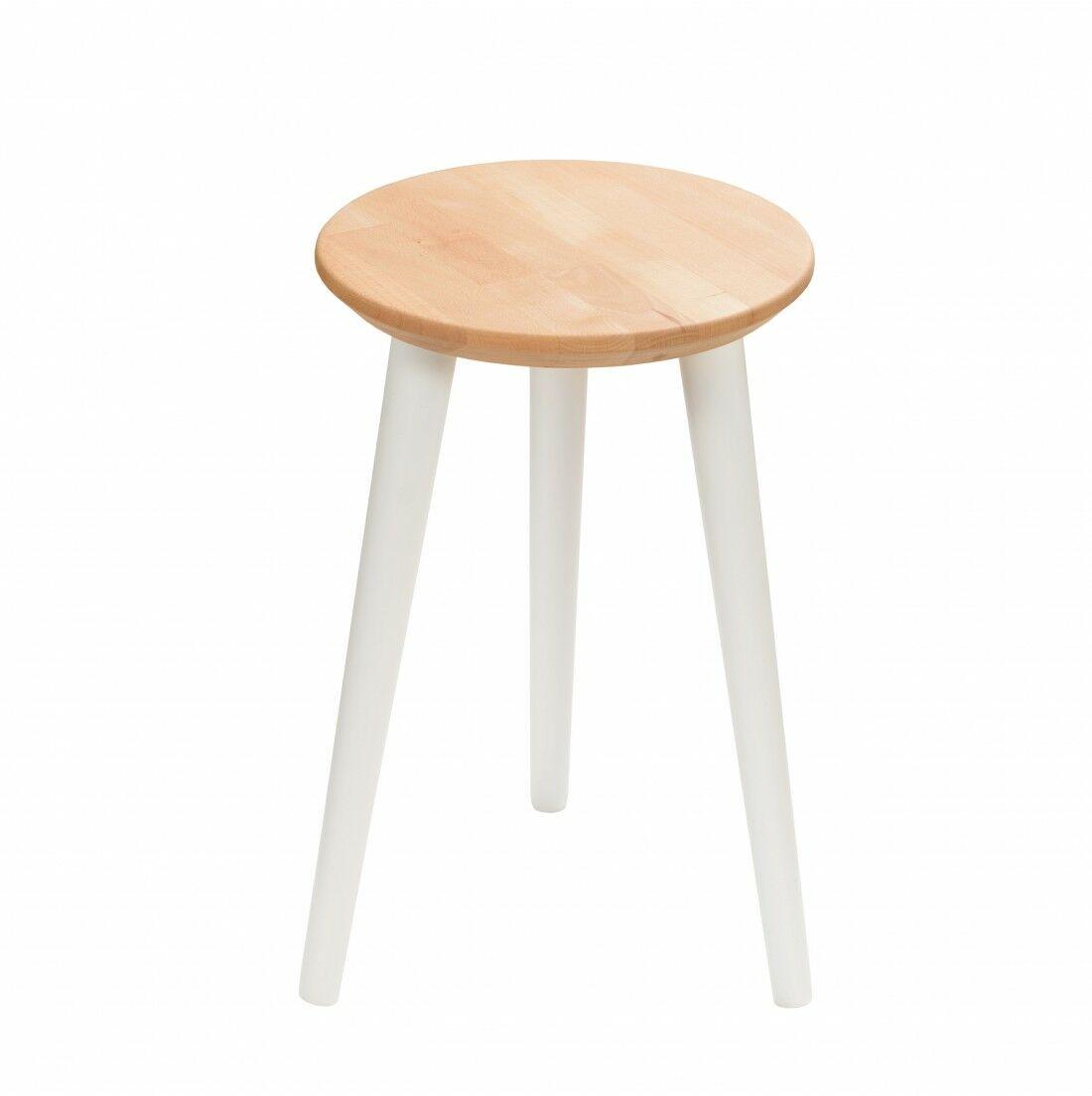 Taboret drewniany okrągły z litego buka Olejowany buk - Natural, Wykończenie nogi - Biały, Wysokość - 470, Wymiar siedziska (Średnica) - 300
