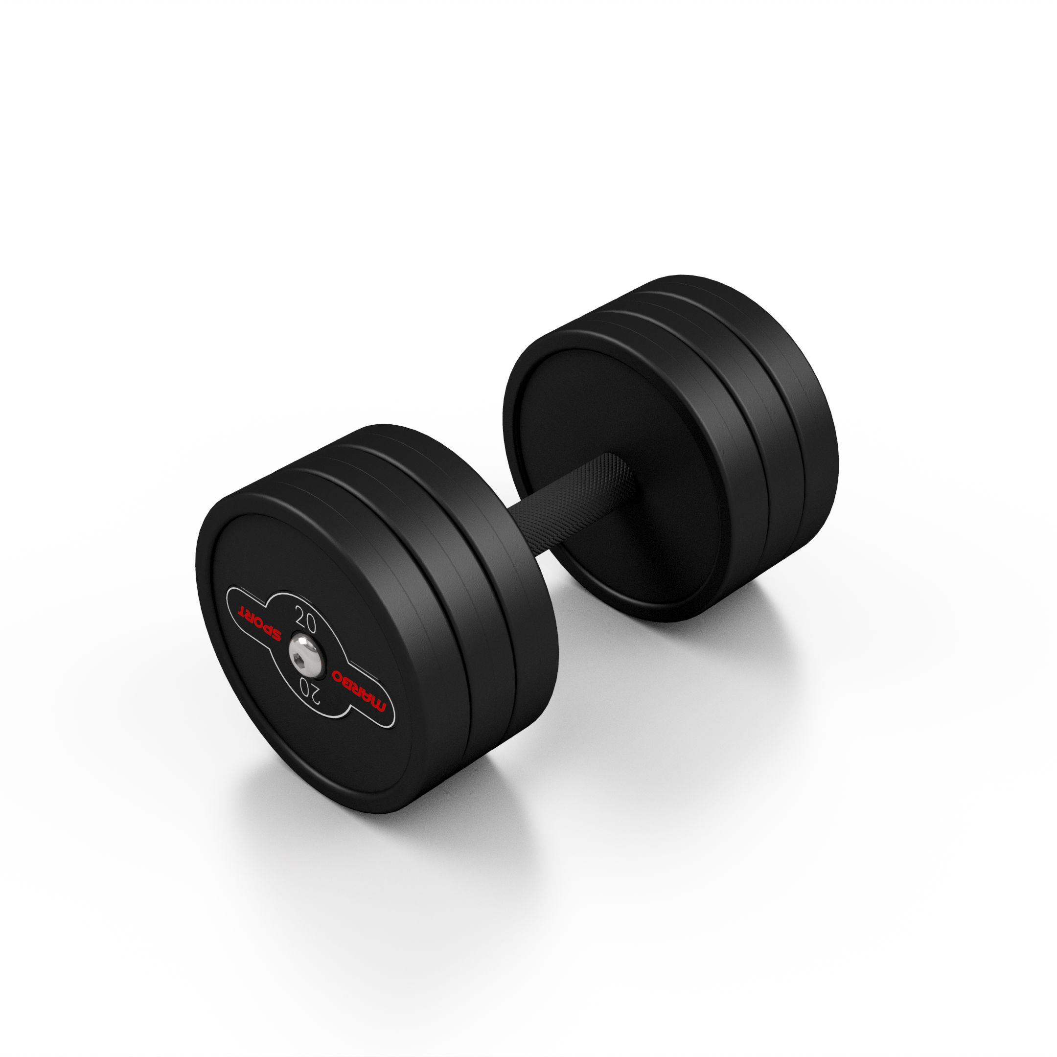 Hantla stalowa gumowana 20 kg czarny mat - Marbo Sport - 20 kg