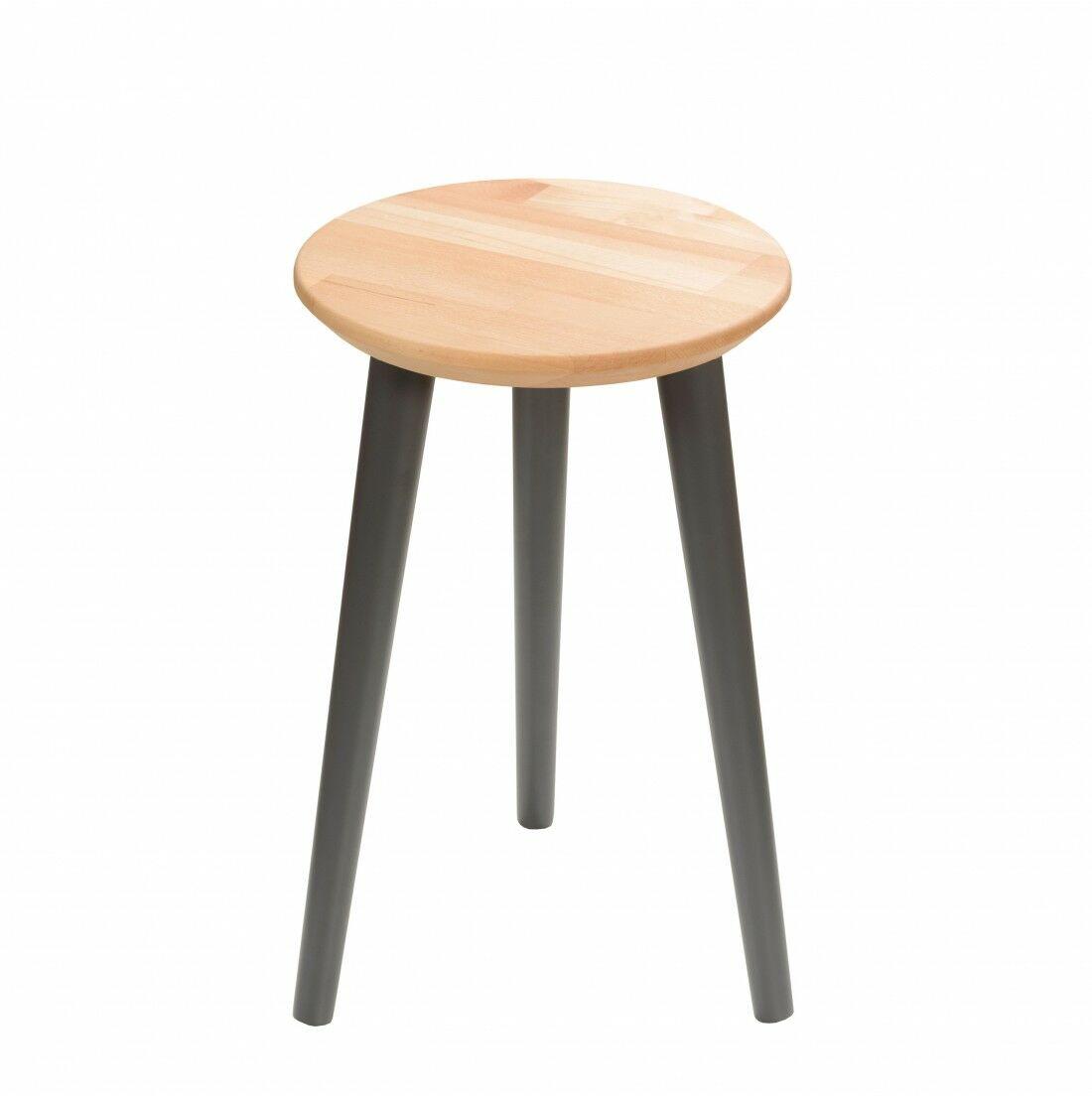 Taboret drewniany okrągły z litego buka Olejowany buk - Natural, Wykończenie nogi - Grafit, Wysokość - 470, Wymiar siedziska (Średnica) - 300