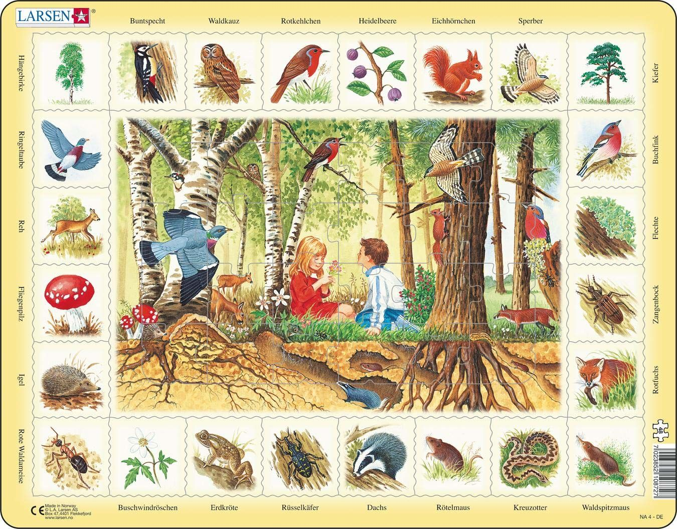 Larsen NA4 Puzzle natury: Las, wersja angielska, 48 elementów