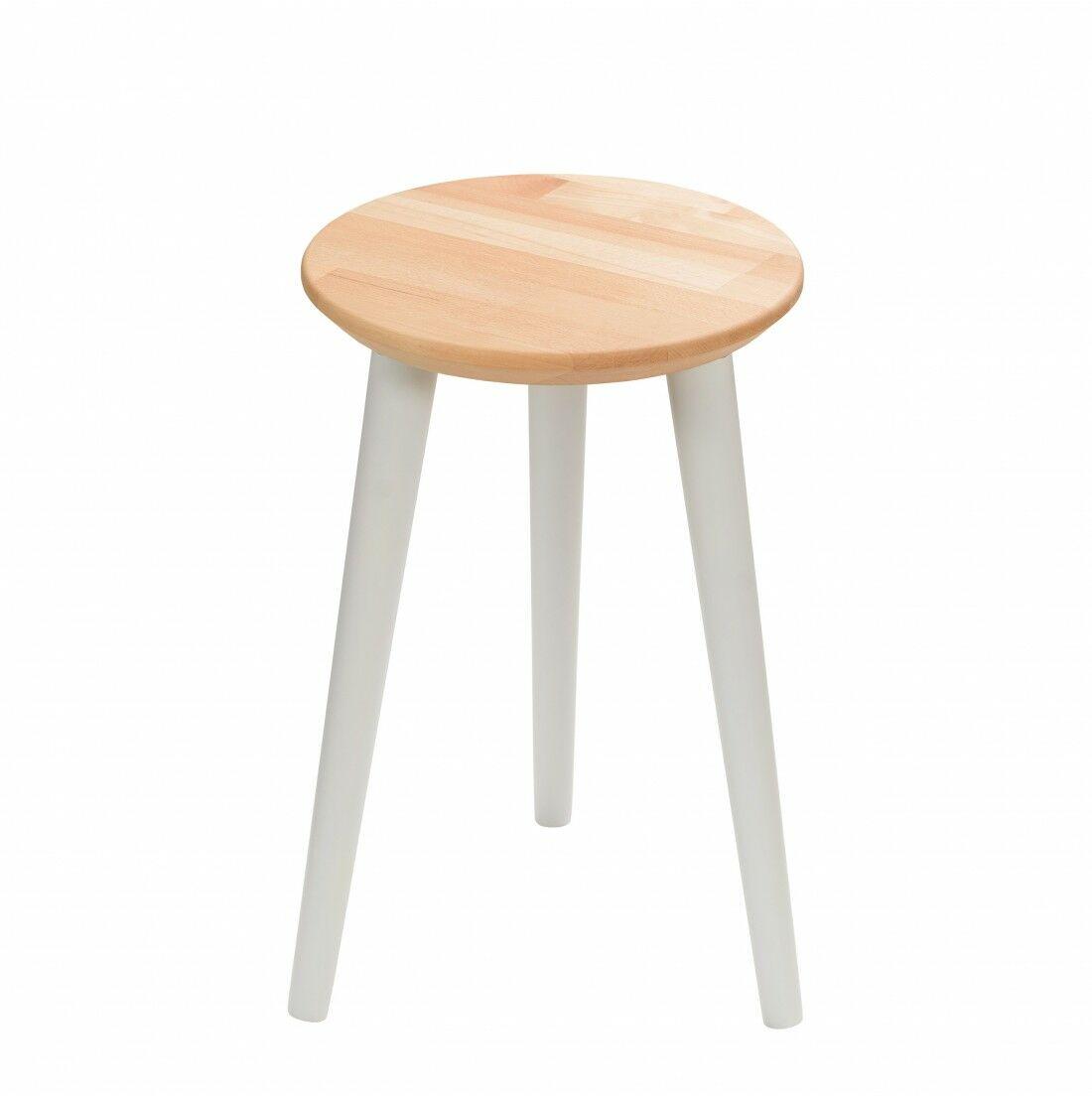 Taboret drewniany okrągły z litego buka Olejowany buk - Natural, Wykończenie nogi - Szary, Wysokość - 470, Wymiar siedziska (Średnica) - 300