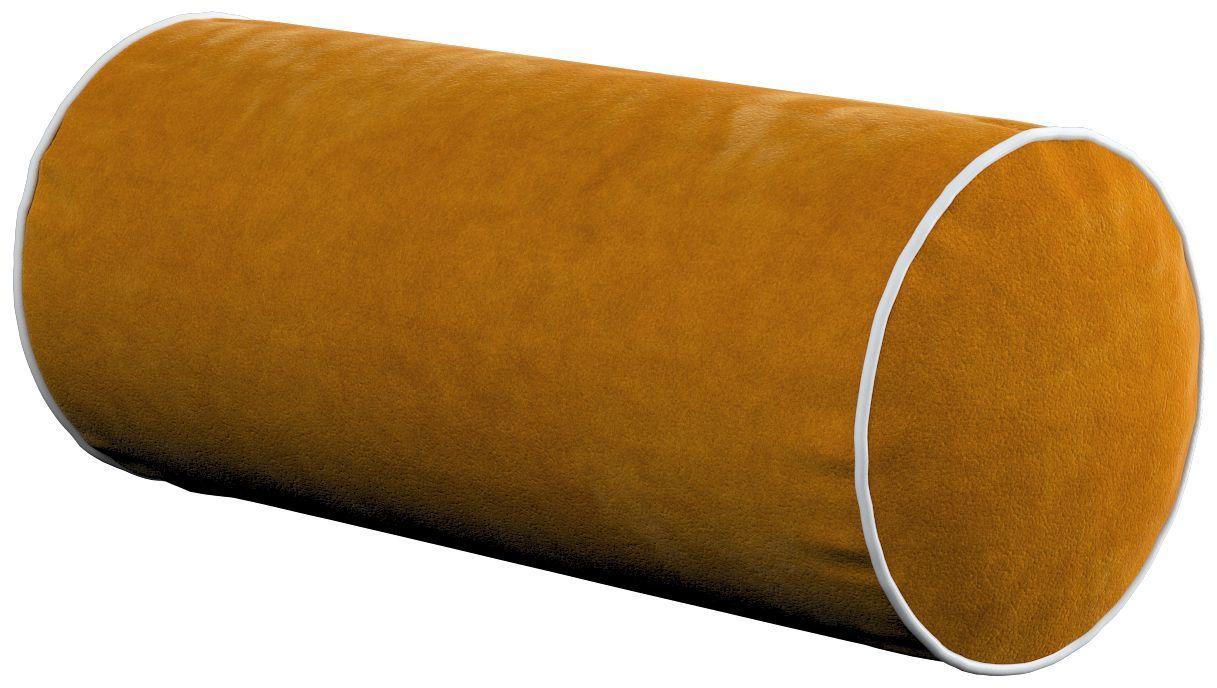 Poduszka wałek prosty z lamówką, miodowy, Ø16  40 cm, Velvet