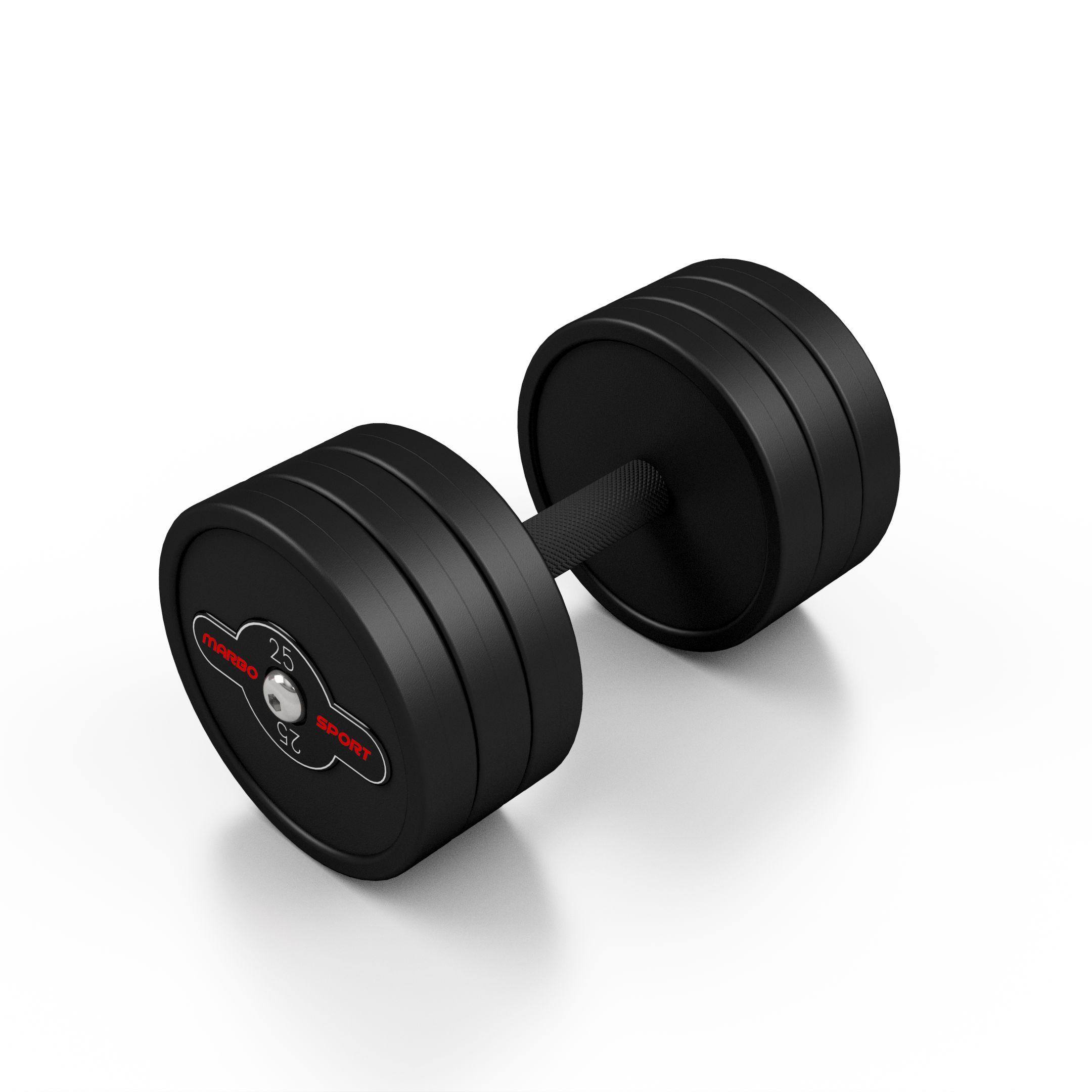 Hantla stalowa gumowana 25 kg czarny mat - Marbo Sport - 25 kg
