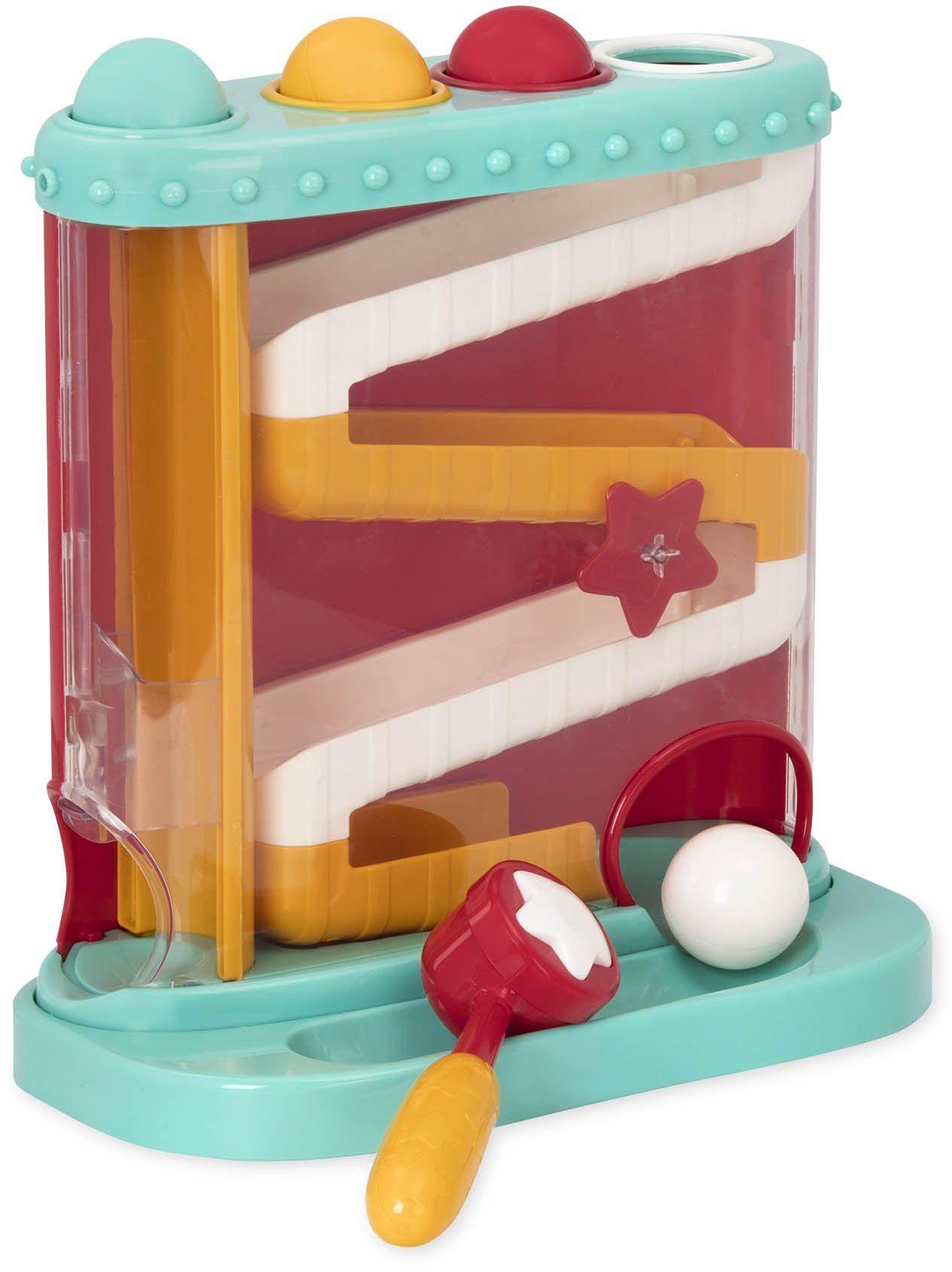 Battat  Funt & Roll  stacja do zabawy dla niemowląt z 1 młotkiem zabawkowym i 4 kulkami dla dzieci 12 miesięcy + (7 szt.)
