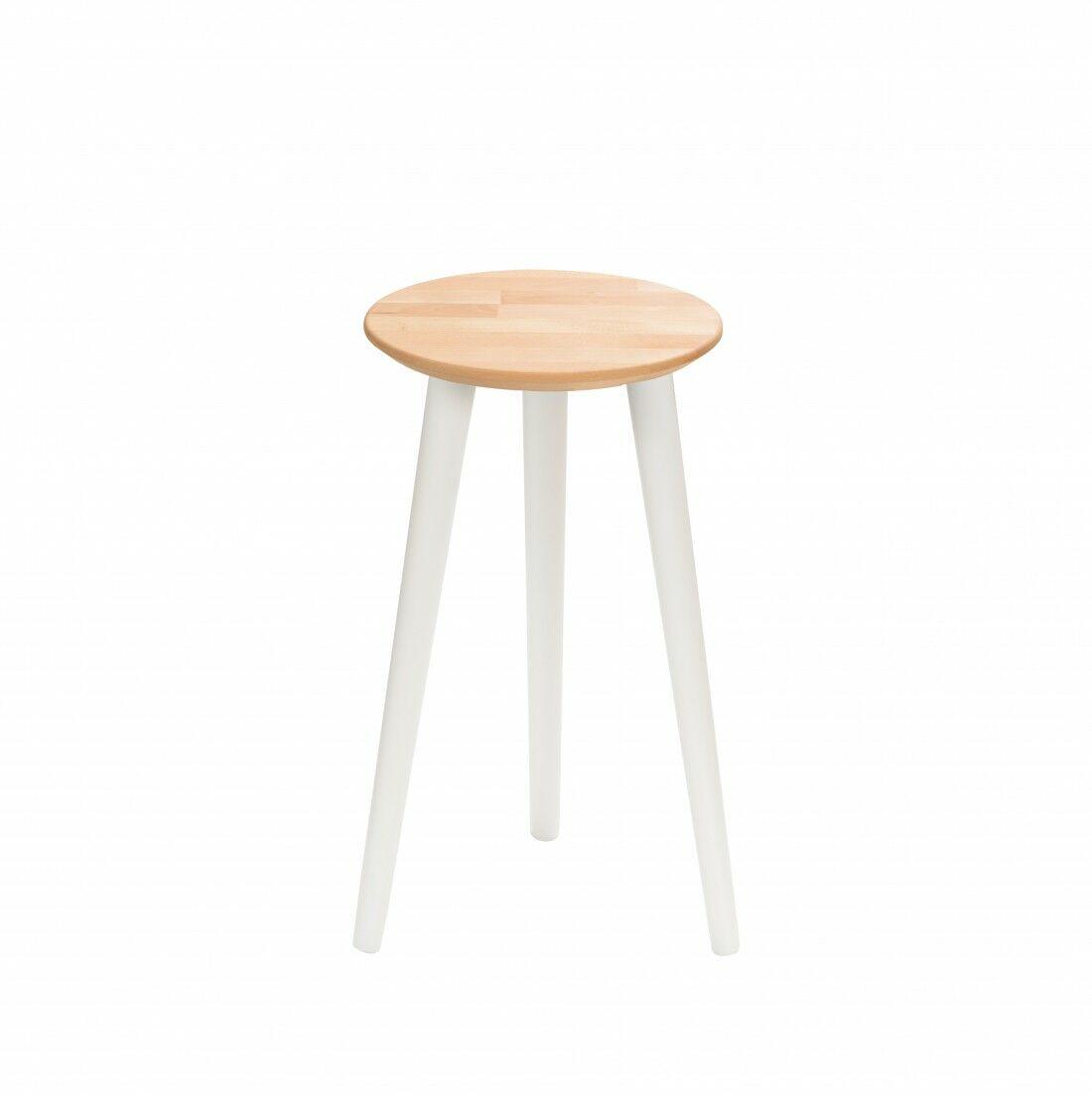 Taboret drewniany okrągły z litego buka Olejowany buk - Natural, Wykończenie nogi - Biały, Wysokość - 540, Wymiar siedziska (Średnica) - 300