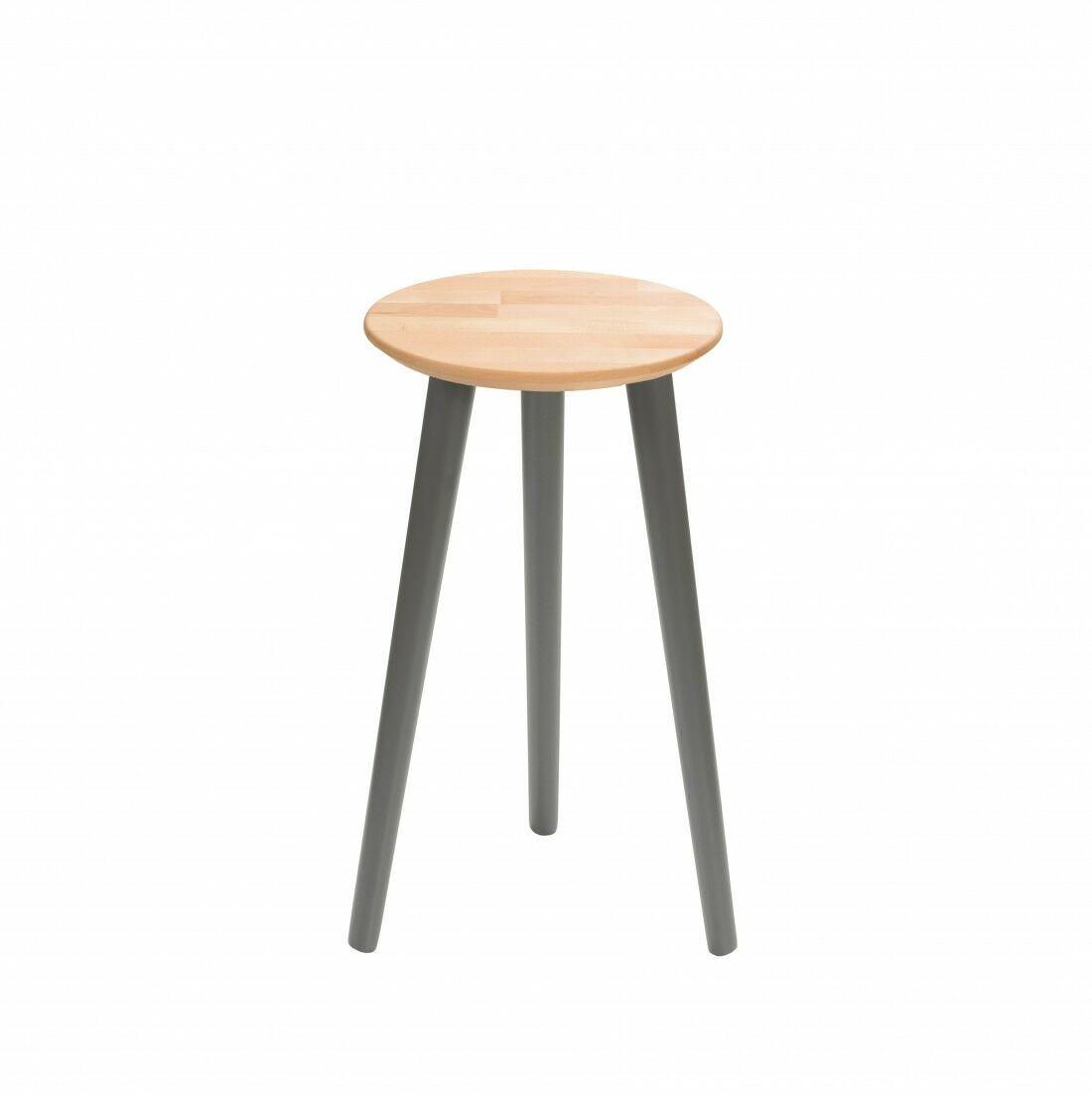 Taboret drewniany okrągły z litego buka Olejowany buk - Natural, Wykończenie nogi - Grafit, Wysokość - 540, Wymiar siedziska (Średnica) - 300
