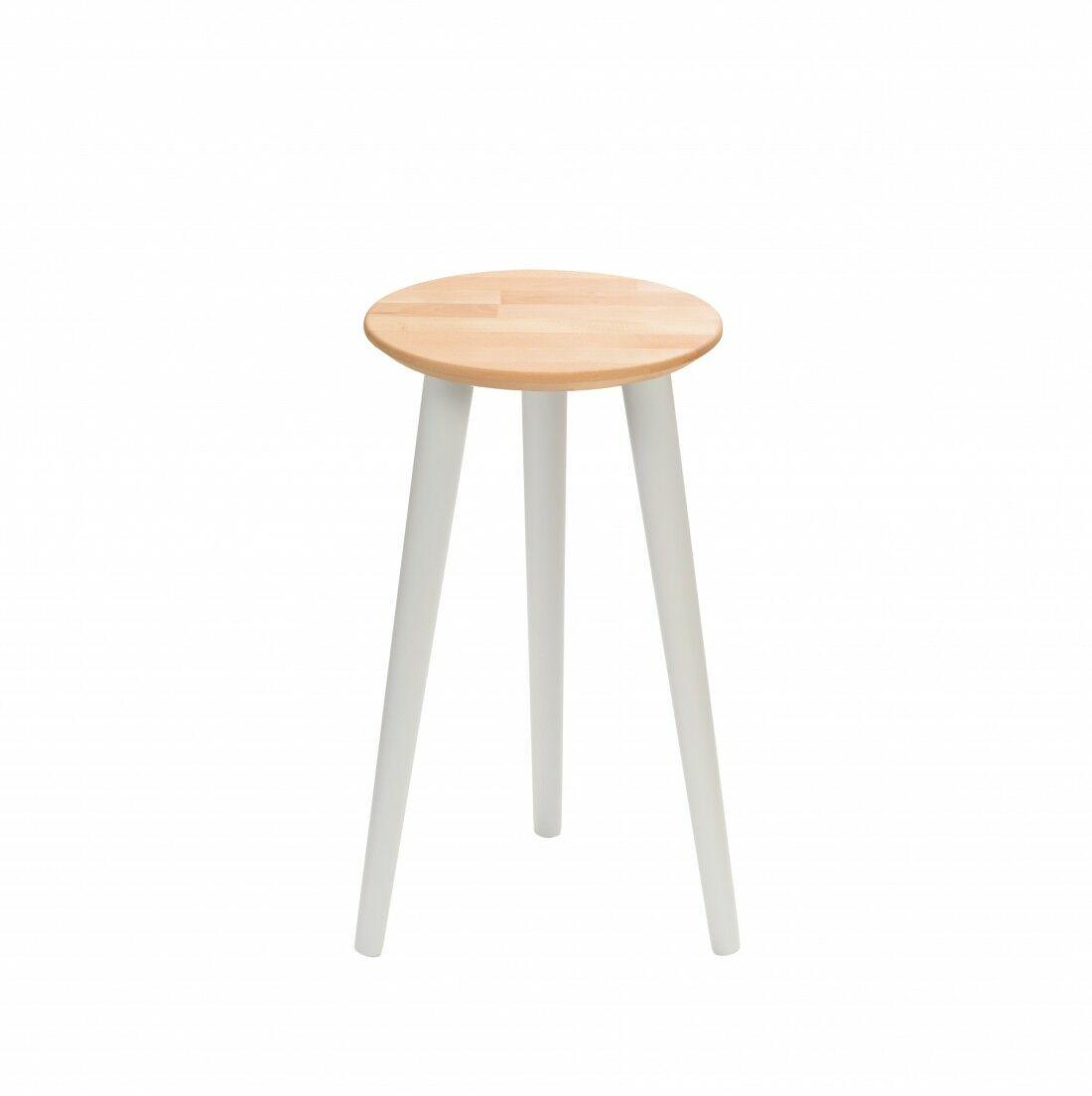 Taboret drewniany okrągły z litego buka Olejowany buk - Natural, Wykończenie nogi - Szary, Wysokość - 540, Wymiar siedziska (Średnica) - 300