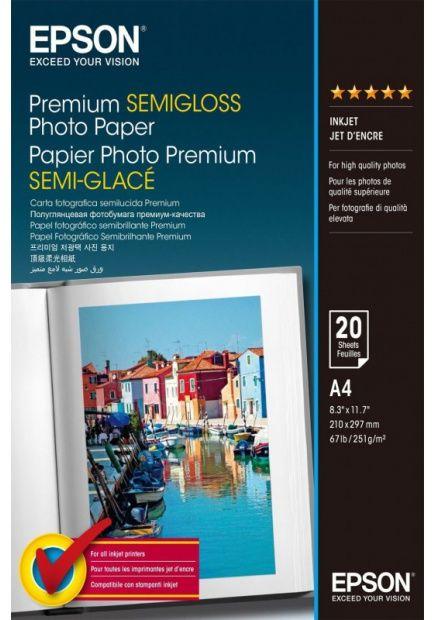 Papier EPSON Premium Semi-Gloss Photo Paper 251g - A4, 20 arkuszy (C13S041332)