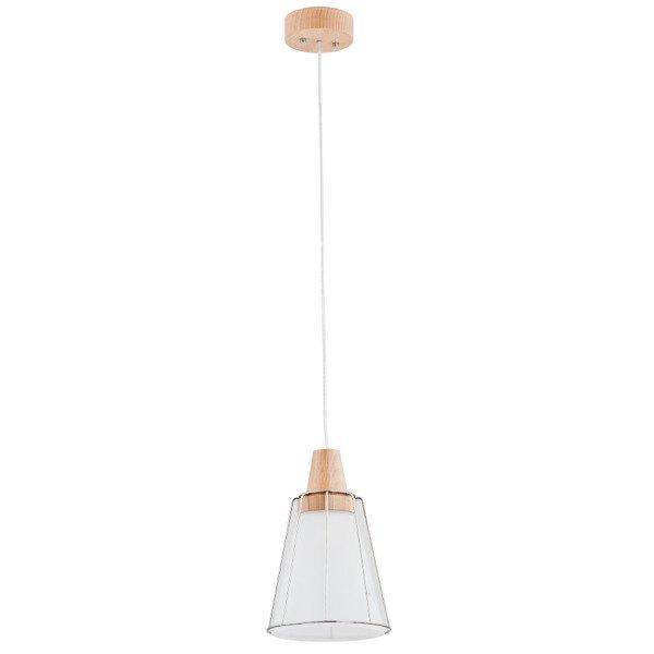 Nowoczesna lampa PARTY biała/drewno śr. 18,5cm