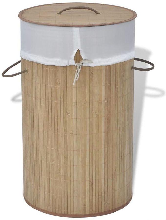 Bambusowy kosz na pranie Lavandi 2X- naturalny