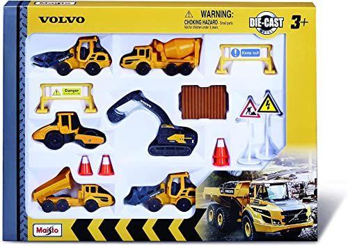 Maisto Volvo pojazdy budowlane: samochodziki zabawkowe w opakowaniu 6 sztuk, z akcesoriami na plac budowy, takimi jak pylony i tabliczki, 8 cm (512376)