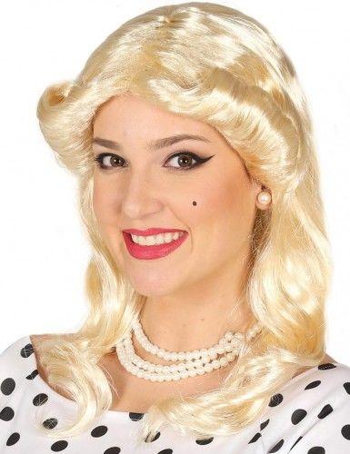 Peruka damska, blond z wywiniętą grzywką, lata 60