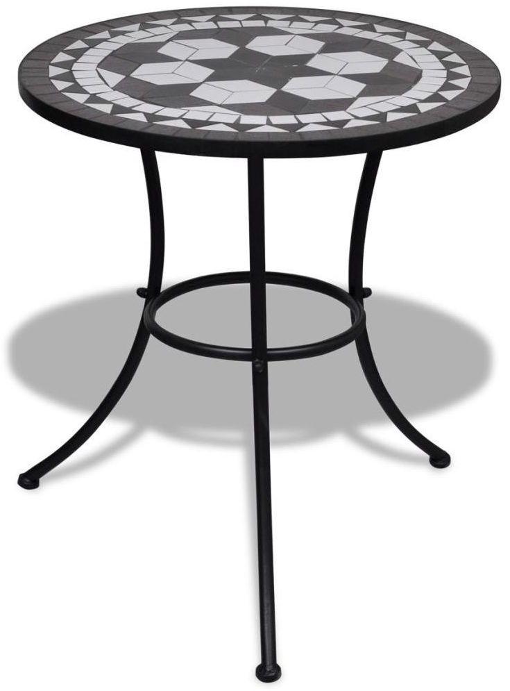 Stolik ogrodowy ceramiczny Valen  czarno-biały