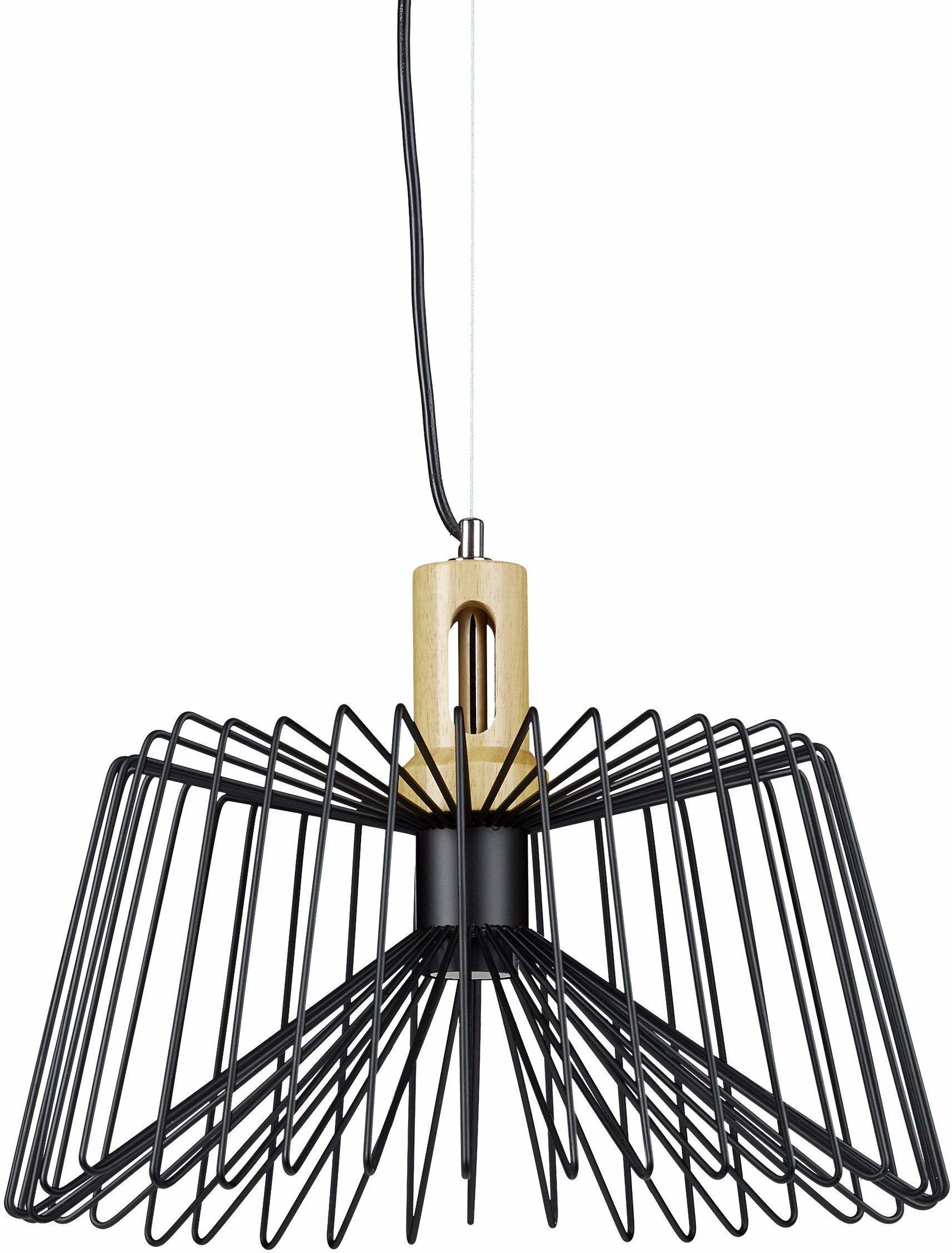 Relaxdays Design lampa wisząca, wygląd siatki, kształt trapezu, metal, drewniany uchwyt sufitowy, retro, gniazdo E27, 1 płomień, 145 x 40 x 40 cm, czarny, 40 W