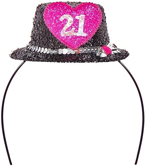 Opaska na głowę Tiara mini kapelusz cyfra 21 czarna różowa