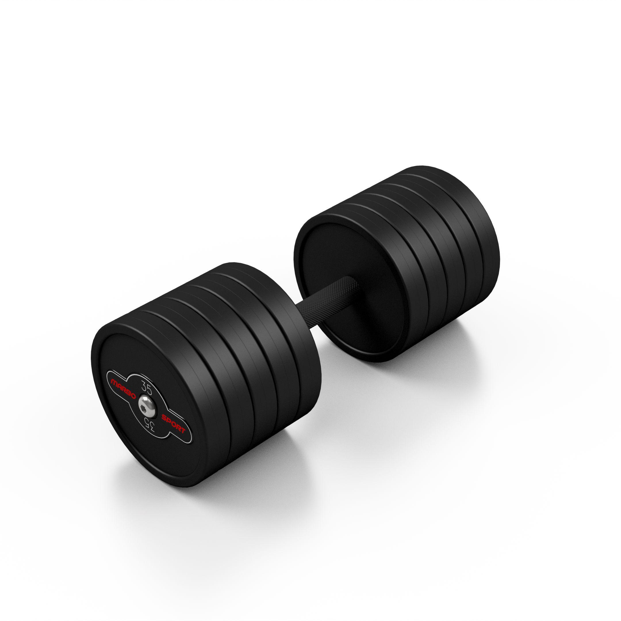 Hantla stalowa gumowana 35 kg czarny mat - Marbo Sport - 35 kg