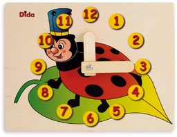 Dida - Zegarek do nauki dla dzieci - biedronki - bawiący się zegar do nauki dzieci, z drewna do przedszkola, szkoły i domu