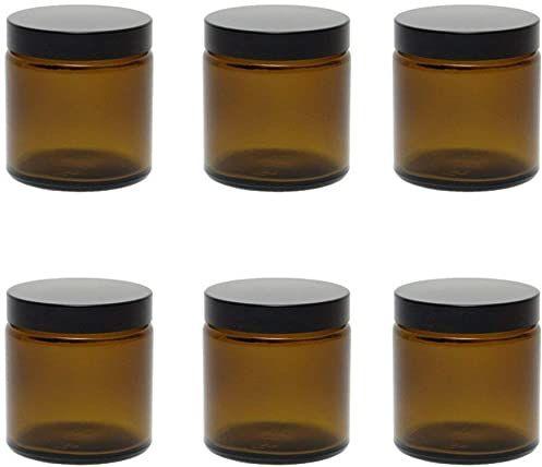 mikken 6 brązowych szklanych batoników 120 ml / baton na maść / kremowy słoiki na przyprawy z brązowego szkła wraz z etykietami do opisywania Szklana puszka, szkło, 6,1 x 6,1 x 6,3 cm, 6 sztuk