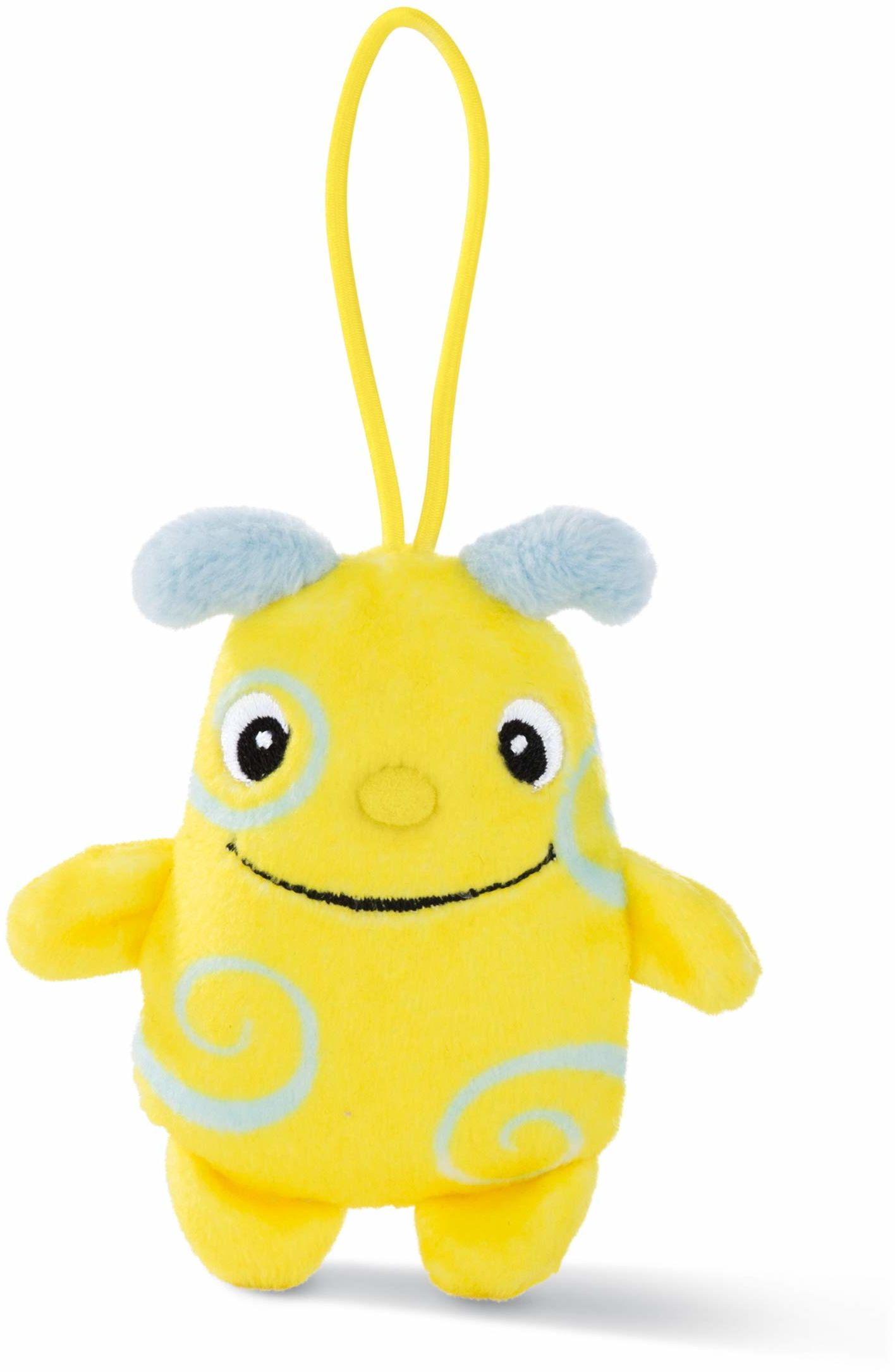 NICI 46107 przytulnie miękka zabawka Moffini Kringel 8 cm z pętlą, żółty/niebieski