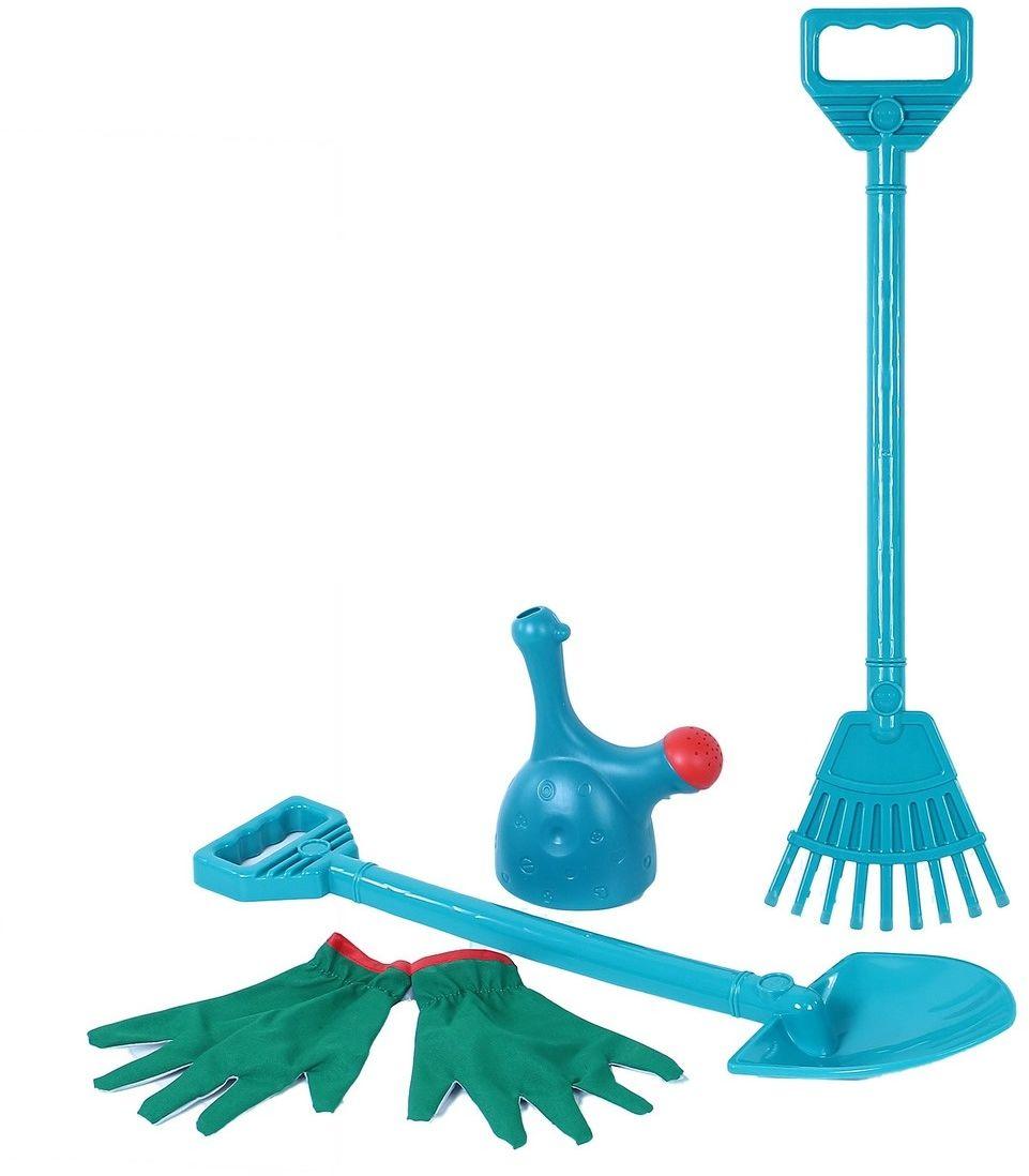 Rappa Zestaw dziecięcych narzędzi ogrodowych z rękawicami, 4 szt.