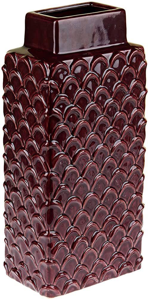 Homemania Wazon geometryczny, dekoracyjny, czerwone wino z ceramiki, 12,5 x 19,5 x 42 cm