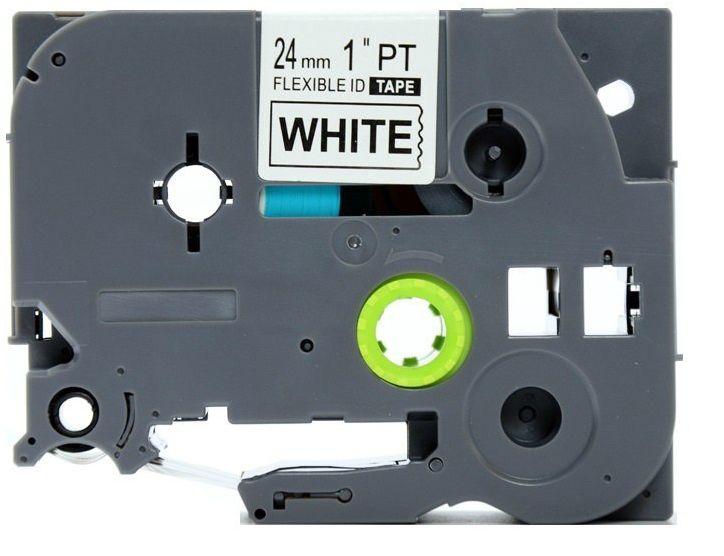 Taśma Brother TZe-FX251 Flexi Elastyczna 24mm x 8m biała czarny nadruk - zamiennik OSZCZĘDZAJ DO 80% - ZADZWOŃ!