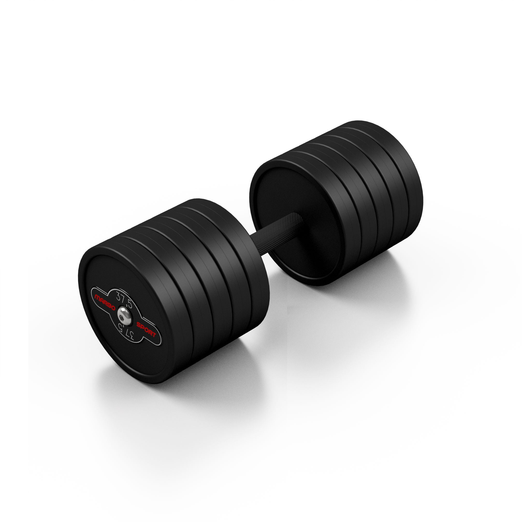 Hantla stalowa gumowana 37,5 kg czarny mat - Marbo Sport - 37,5 kg