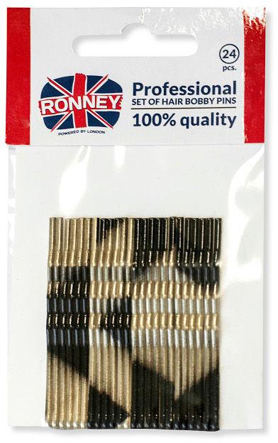 Ronney Profesjonalne wsuwki do włosów Długie, złoto-czarne 24 szt.