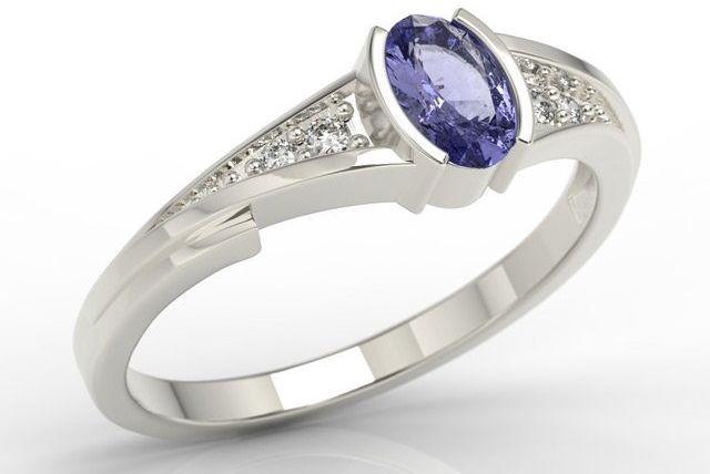 Pierścionek zaręczynowy z białego złota z tanzanitem i diamentami jp-2705b