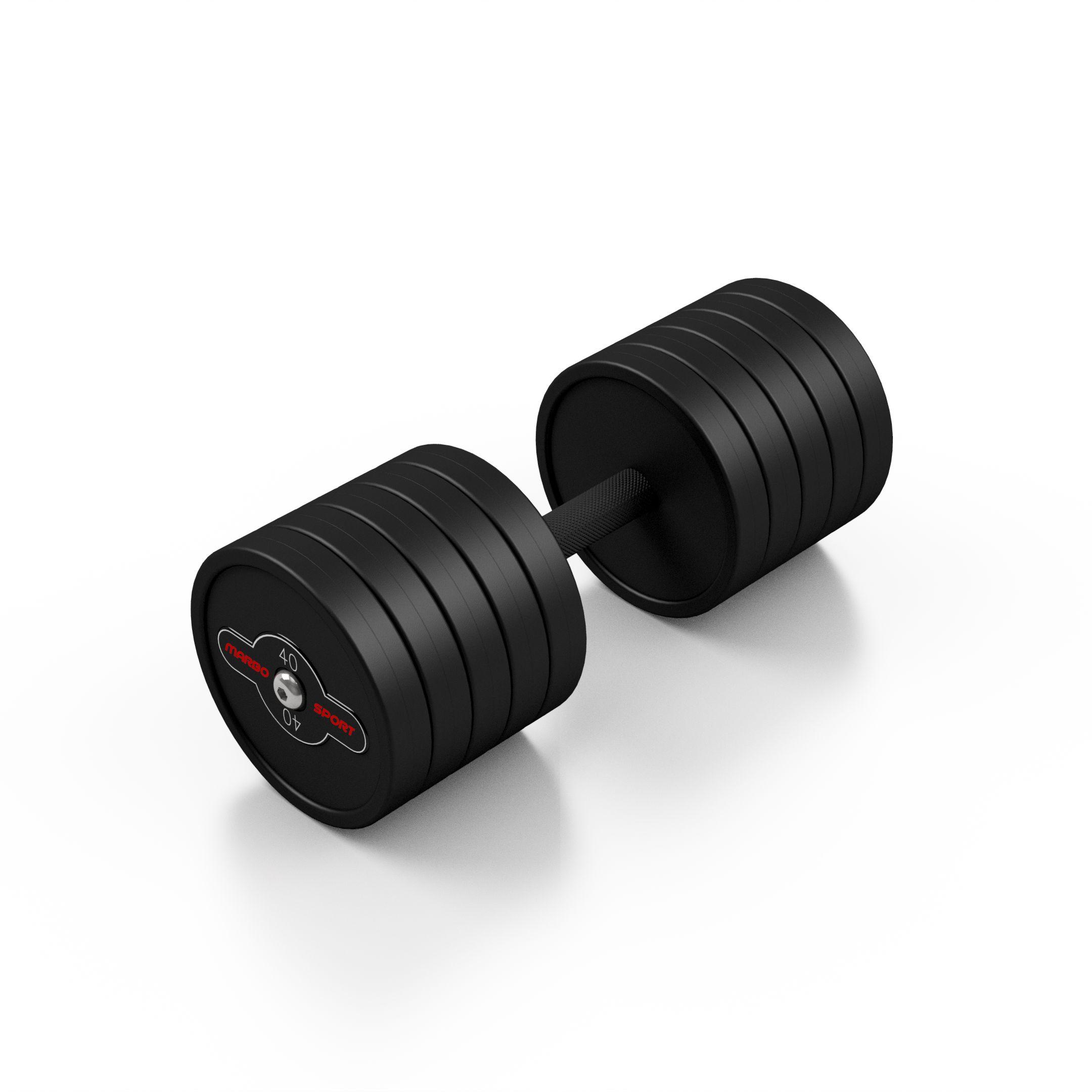 Hantla stalowa gumowana 40 kg czarny mat - Marbo Sport - 40 kg
