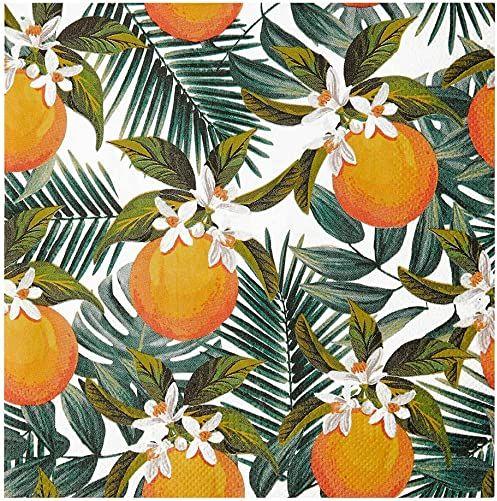 Opakowanie 20 papierowych serwetek z nadrukiem tropikalnej palmy i pomarańczy Serwetki jednorazowe, zastawa stołowa na urodziny, przyjęcie w ogrodzie, lato, piknik, luau, decoupage