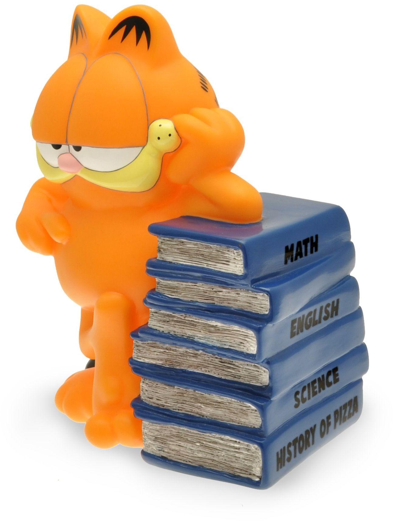 Plastoy SAS 80050 - Garfield: Duża świnka skarbonka Garfield opierająca się na stosie książek