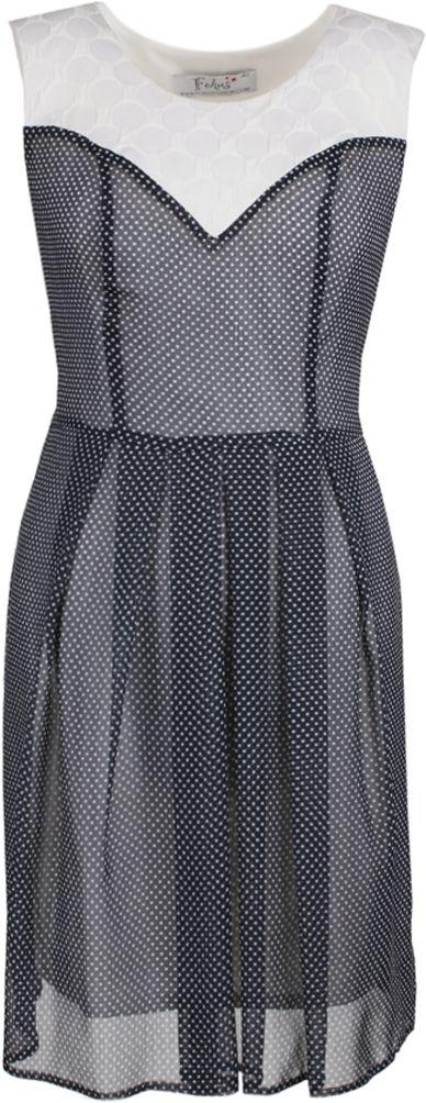 Sukienka FSU607 GRANATOWY + EKRI