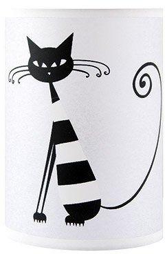 Lampka nocna stojąca okrągła czarny kot