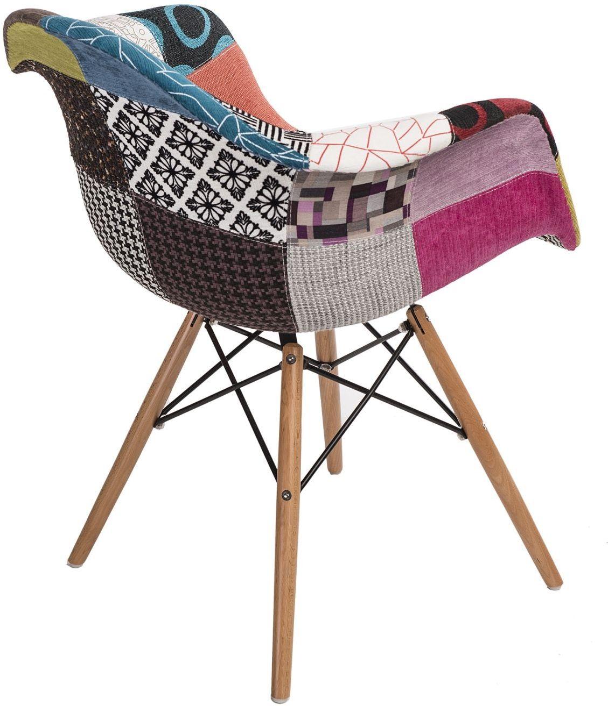D2 Krzesło P018W patch work, drewniane nogi