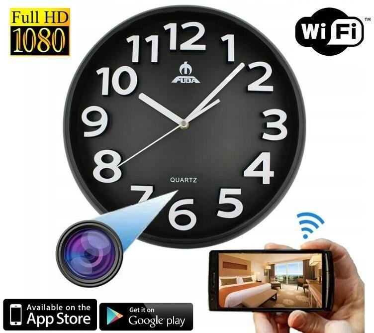 Szpiegowska Kamera FULL HD WiFi/P2P (zasięg cały świat!) Ukryta w Zegarze Ściennym + Zapis +...