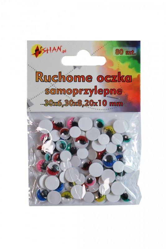 Ruchome oczka samoprzylepne kolorowe 6,8,10 mm 80 szt Shan SO011 SO011