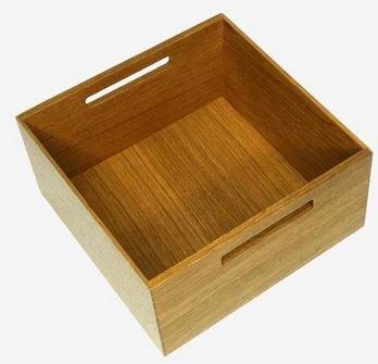 Peka - Kwadratowe pudełko z uchwytami drewniane 236x236x120 mm 07.366.D