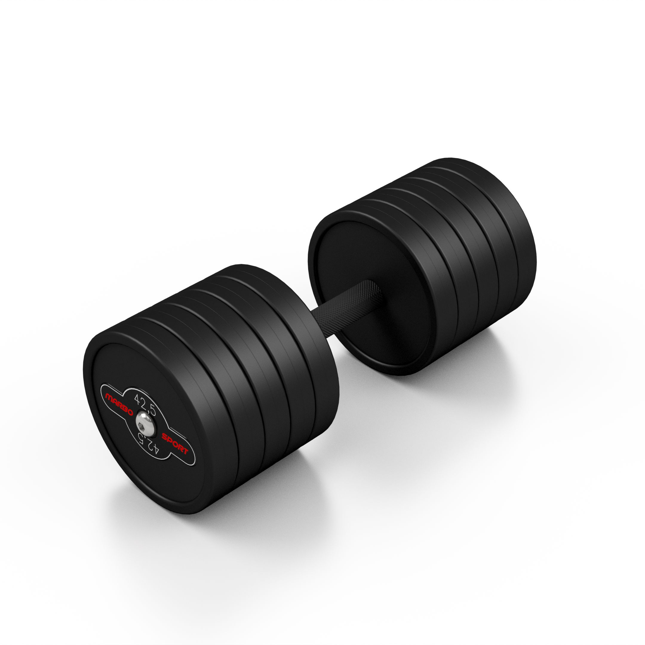 Hantla stalowa gumowana 42,5 kg czarny mat - Marbo Sport - 42,5 kg