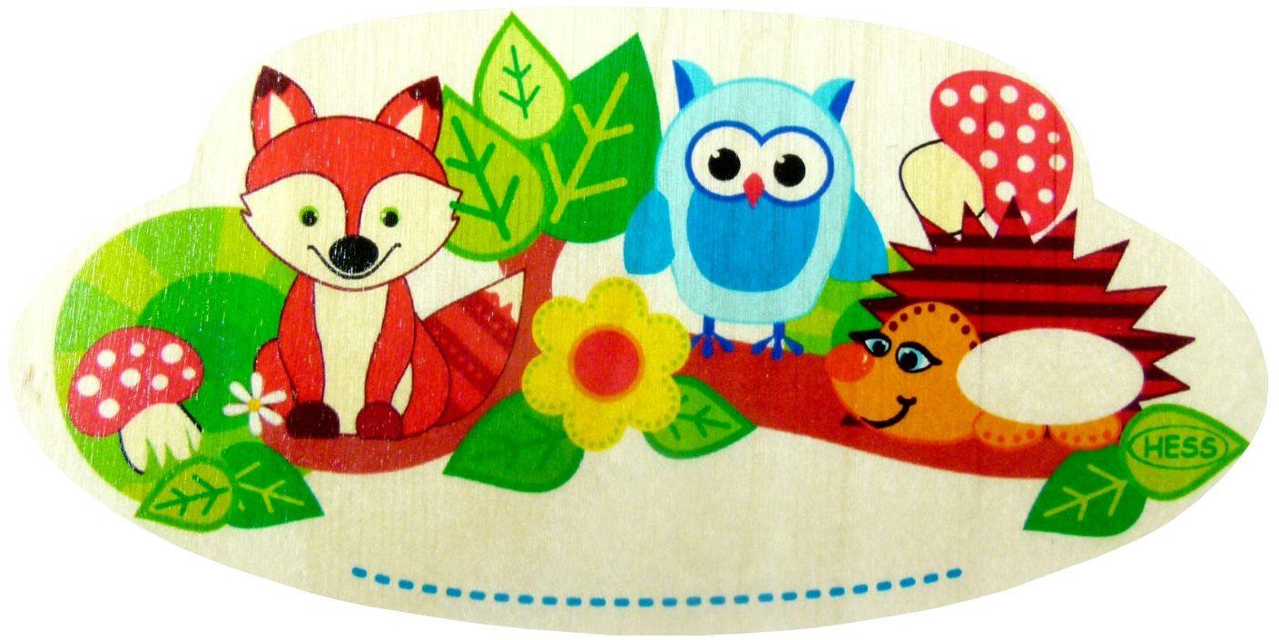 Hess 15440 drewniane zwierzęta leśne tabliczka na imię zabawka dla niemowląt, wielokolorowa
