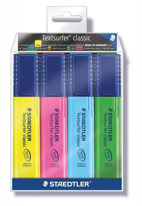 Zakreslacz textsurfer classic 364WP4 Staedtler żółty różowy niebieski i zielony 5393-364WP4