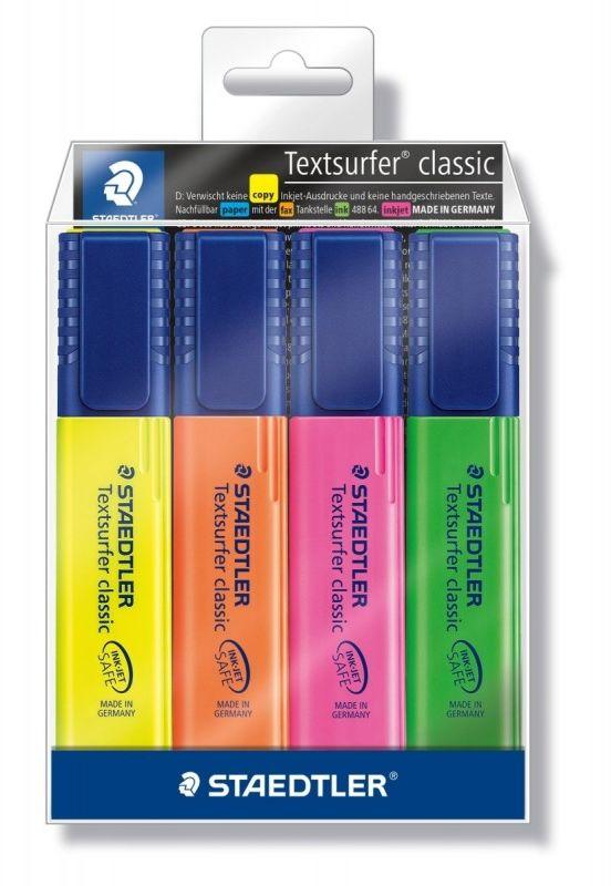 Zakreslacz textsurfer classic 364WP4 Staedtler żółty różowy pomarańczowy i zielony 5394-364WP4