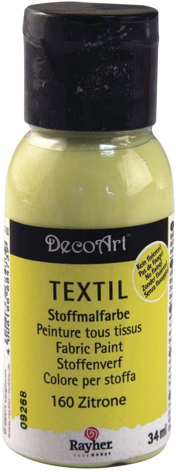 Rayher 38500160 farba do tkanin, farba tekstylna cytrynowa, butelka 34 ml, wysoce kryjąca, kremowa farba akrylowa specjalnie do tekstyliów, odporna na zmywanie