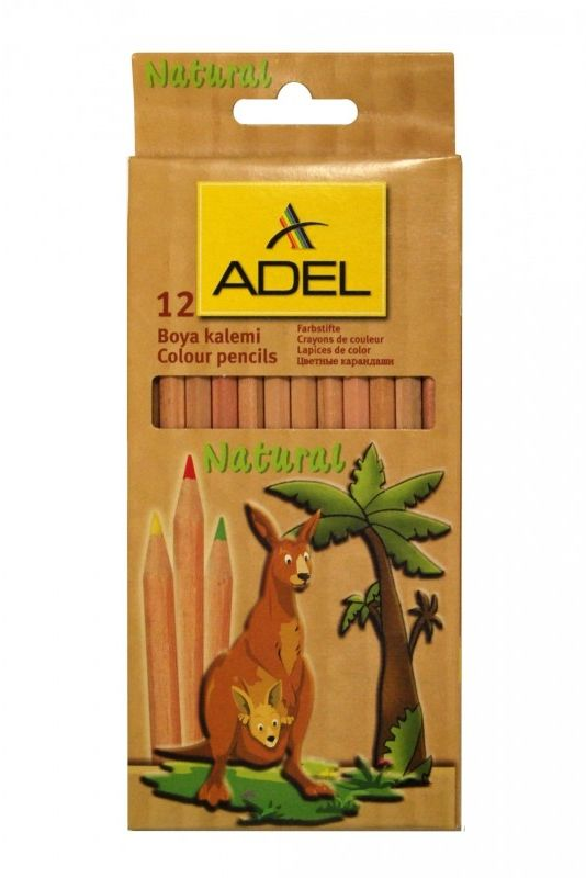 Kredki ołówkowe w naturalnej oprawie 12 kolorów Adel 2112319000