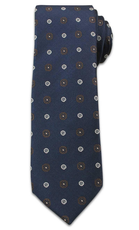 Stylowy Krawat Męski w Grochy i Kwiatki- Chattier- 6,5cm- Kolorowy KRCH0954