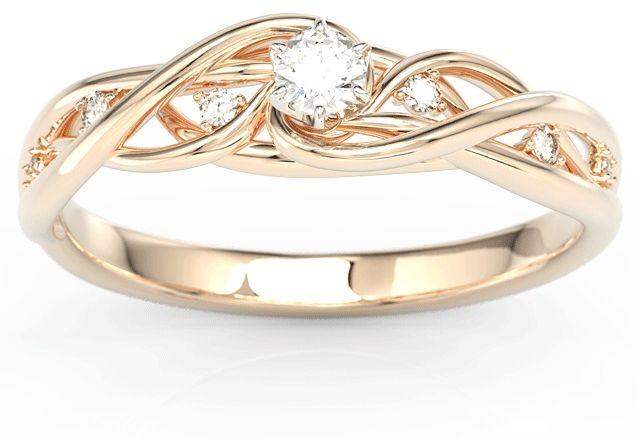 Pierścionek z różowego złota z białym szafirem i brylantami bp-75p